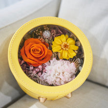 Load image into Gallery viewer, Preserved Flower Arrangement | Yellow Color Round Leather Floral Box