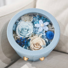 Load image into Gallery viewer, Preserved Flower Arrangement | Blue Color Round Leather Floral Box