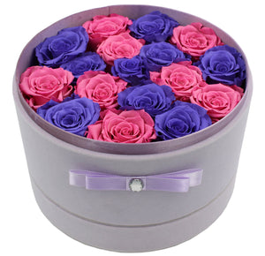 Special Edition Large Purple Lint Round Box with Mixed Purple and Pink Preserved Roses - The Only Roses