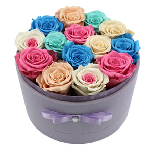 Special Edition Large Purple Lint Round Box with Mixed Color Preserved Roses - The Only Roses