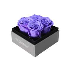Load image into Gallery viewer, Purple Preserved Roses | Small Square Classic Grey Box - The Only Roses