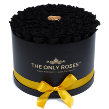 Load image into Gallery viewer, Black & Gold Preserved Roses | Large Round Black Huggy Rose Box - The Only Roses