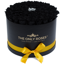 Load image into Gallery viewer, Black & Silver Preserved Roses | Large Round Black Huggy Rose Box - The Only Roses