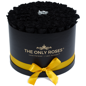 Black & Silver Preserved Roses | Large Round Black Huggy Rose Box - The Only Roses