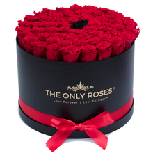 Load image into Gallery viewer, Red & Black Preserved Roses | Large Round Black Huggy Rose Box - The Only Roses