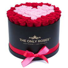 Load image into Gallery viewer, Red and Light Pink Heart Preserved Roses | Large Round Black Huggy Rose Box - The Only Roses