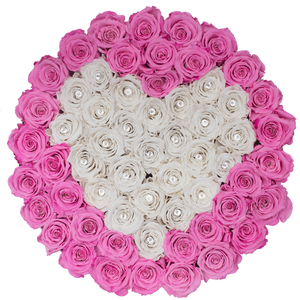 Pink and White Heart Preserved Roses | Large Round White Huggy Rose Box - The Only Roses