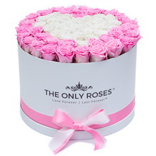 Load image into Gallery viewer, Pink and White Heart Preserved Roses | Large Round White Huggy Rose Box - The Only Roses