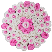 Load image into Gallery viewer, Special Pink and & Preserved Roses | Large Round White Huggy Rose Box - The Only Roses