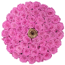Load image into Gallery viewer, Pink & Gold Preserved Roses | Large Round White Huggy Rose Box - The Only Roses