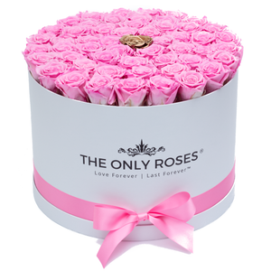 Pink & Gold Preserved Roses | Large Round White Huggy Rose Box - The Only Roses