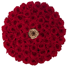 Load image into Gallery viewer, Red & Gold Preserved Roses | Large Round White Huggy Rose Box - The Only Roses