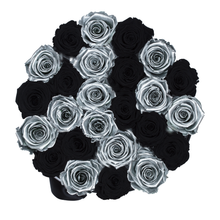 Load image into Gallery viewer, Silver & Black Preserved Roses | Medium Round White Huggy Rose Box - The Only Roses