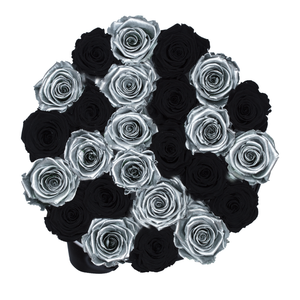 Silver & Black Preserved Roses | Medium Round White Huggy Rose Box - The Only Roses