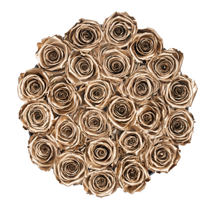 Gold Preserved Roses | Medium Round Black Huggy Rose Box - The Only Roses