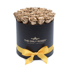 Load image into Gallery viewer, Gold Preserved Roses | Medium Round Black Huggy Rose Box - The Only Roses