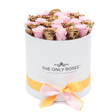 Load image into Gallery viewer, Pink & Gold Preserved Roses | Medium Round White Huggy Rose Box - The Only Roses