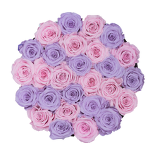 Load image into Gallery viewer, Light Pink & Light Purple Preserved Roses | Medium Round White Huggy Rose Box - The Only Roses