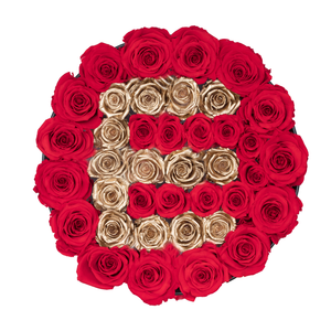 "Gold Letter "" E "" Preserved Roses 