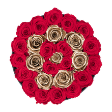Load image into Gallery viewer, Red &Gold Circle Preserved Roses | Medium Round Black Huggy Rose Box - The Only Roses