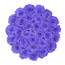 Load image into Gallery viewer, Purple Preserved Roses | Medium Round White Huggy Rose Box - The Only Roses