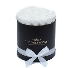 Load image into Gallery viewer, White Preserved Roses | Medium Round Black Huggy Rose Box - The Only Roses