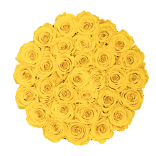 Load image into Gallery viewer, Yellow Preserved Roses | Medium Round Black Huggy Rose Box - The Only Roses