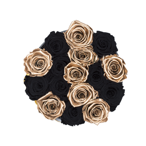 Gold & Black Preserved Roses | Small Round Black Huggy Rose Box - The Only Roses
