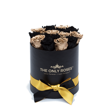 Load image into Gallery viewer, Gold & Black Preserved Roses | Small Round Black Huggy Rose Box - The Only Roses