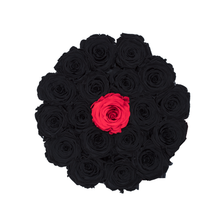 Load image into Gallery viewer, Black & One Red Preserved Roses | Small Round Black Huggy Rose Box - The Only Roses