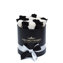Load image into Gallery viewer, Black & White Preserved Roses | Small Round Black Huggy Rose Box - The Only Roses
