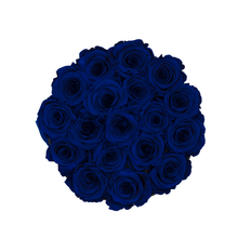 Load image into Gallery viewer, Royal Blue Preserved Roses | Small Round Black Huggy Rose Box - The Only Roses