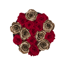 Load image into Gallery viewer, Gold & Red Mix Preserved Roses | Small Round Black Huggy Rose Box - The Only Roses