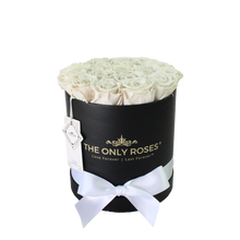 Load image into Gallery viewer, White Preserved Roses | Medium Black Round Rose Hat Box