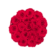 Load image into Gallery viewer, Red Preserved Roses | Small Round White Huggy Rose Box - The Only Roses