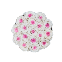 Load image into Gallery viewer, White & Pink Mix Preserved Roses | Small Round White Huggy Rose Box - The Only Roses