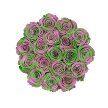 Load image into Gallery viewer, Green & Pink Mix Preserved Roses | Small Round White Huggy Rose Box - The Only Roses