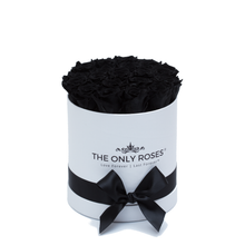 Load image into Gallery viewer, Black Preserved Roses | Small Round White Huggy Rose Box - The Only Roses