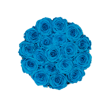 Load image into Gallery viewer, Blue Preserved Roses | Small Round White Huggy Rose Box - The Only Roses