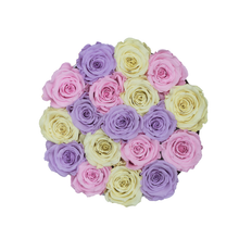 Load image into Gallery viewer, Candy Preserved Roses | Small Round White Huggy Rose Box - The Only Roses
