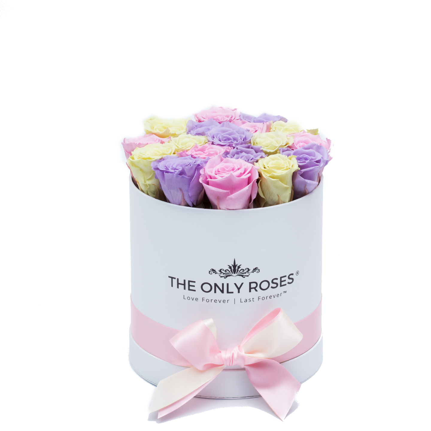 Candy Preserved Roses | Small Round White Huggy Rose Box - The Only Roses