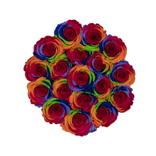 Load image into Gallery viewer, Rainbow Preserved Roses | Small Round White Huggy Rose Box - The Only Roses
