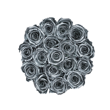 Load image into Gallery viewer, Silver Preserved Roses | Small Round White Huggy Rose Box - The Only Roses