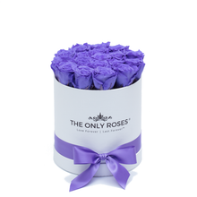 Load image into Gallery viewer, Purple Preserved Roses | Small Round White Huggy Rose Box - The Only Roses