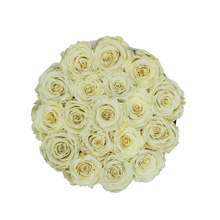 Load image into Gallery viewer, Light Yellow Preserved Roses | Small Round White Huggy Rose Box - The Only Roses
