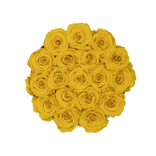 Load image into Gallery viewer, Yellow Preserved Roses | Small Round White Huggy Rose Box - The Only Roses