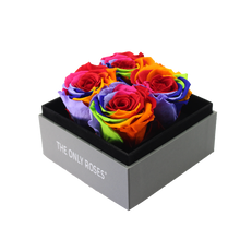 Load image into Gallery viewer, Rainbow Preserved Roses | Small Square Classic Grey Box - The Only Roses
