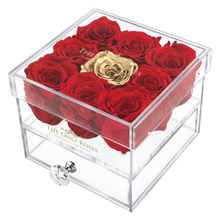 Load image into Gallery viewer, Red & Gold Preserved Roses | Small Acrylic Rose Box
