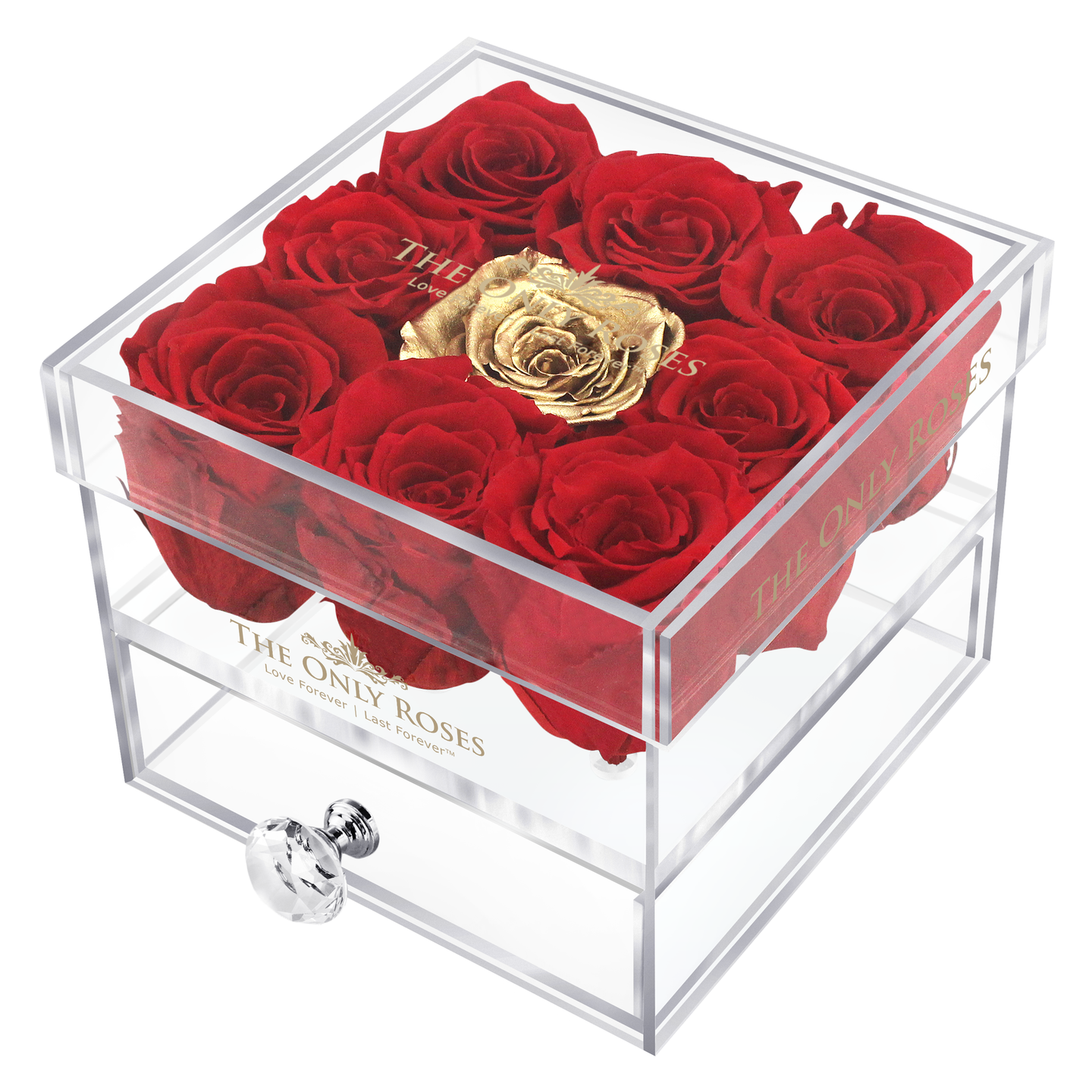 Red & Gold Preserved Roses | Small Acrylic Rose Box