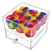 Load image into Gallery viewer, Rainbow Color Preserved Roses | Small Acrylic Rose Box